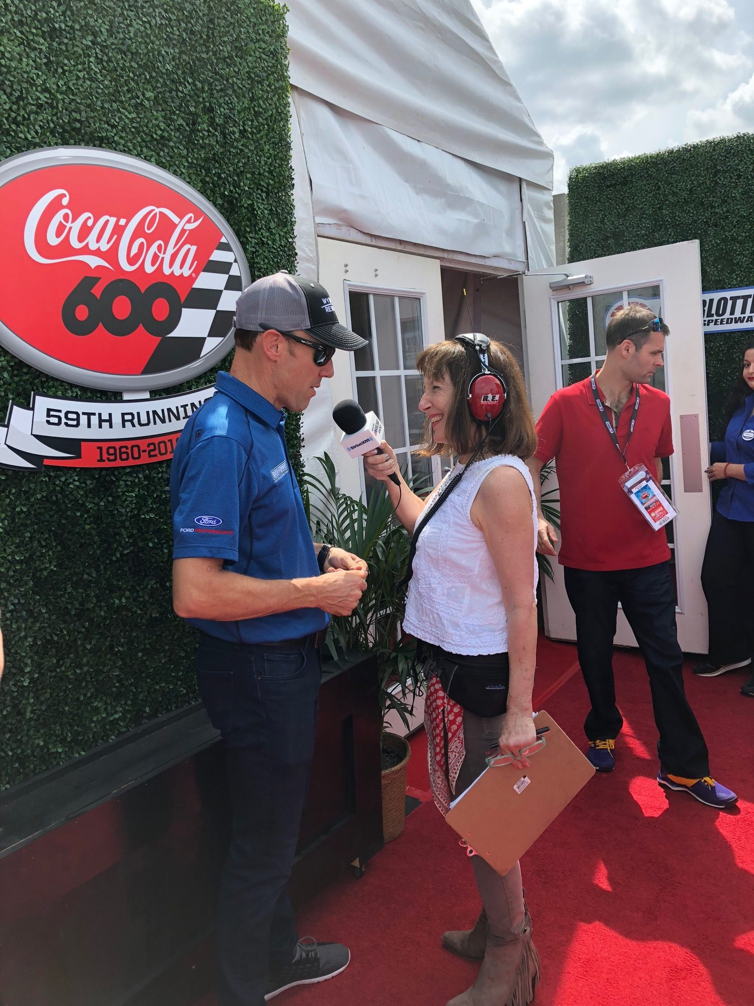Claire B. Lang of SiriusXM NASCAR Radio with Matt Kenseth before the Coca-Cola 600.