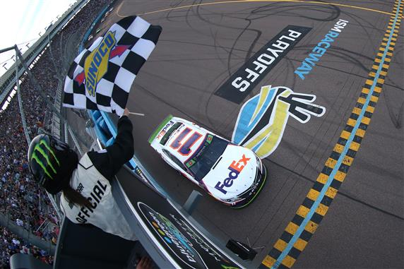 Denny Hamlin Wins His Way into Homestead at ISM Raceway