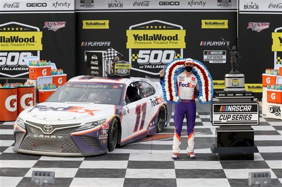 Denny Hamlin Wins Historically-Chaotic Talladega Race