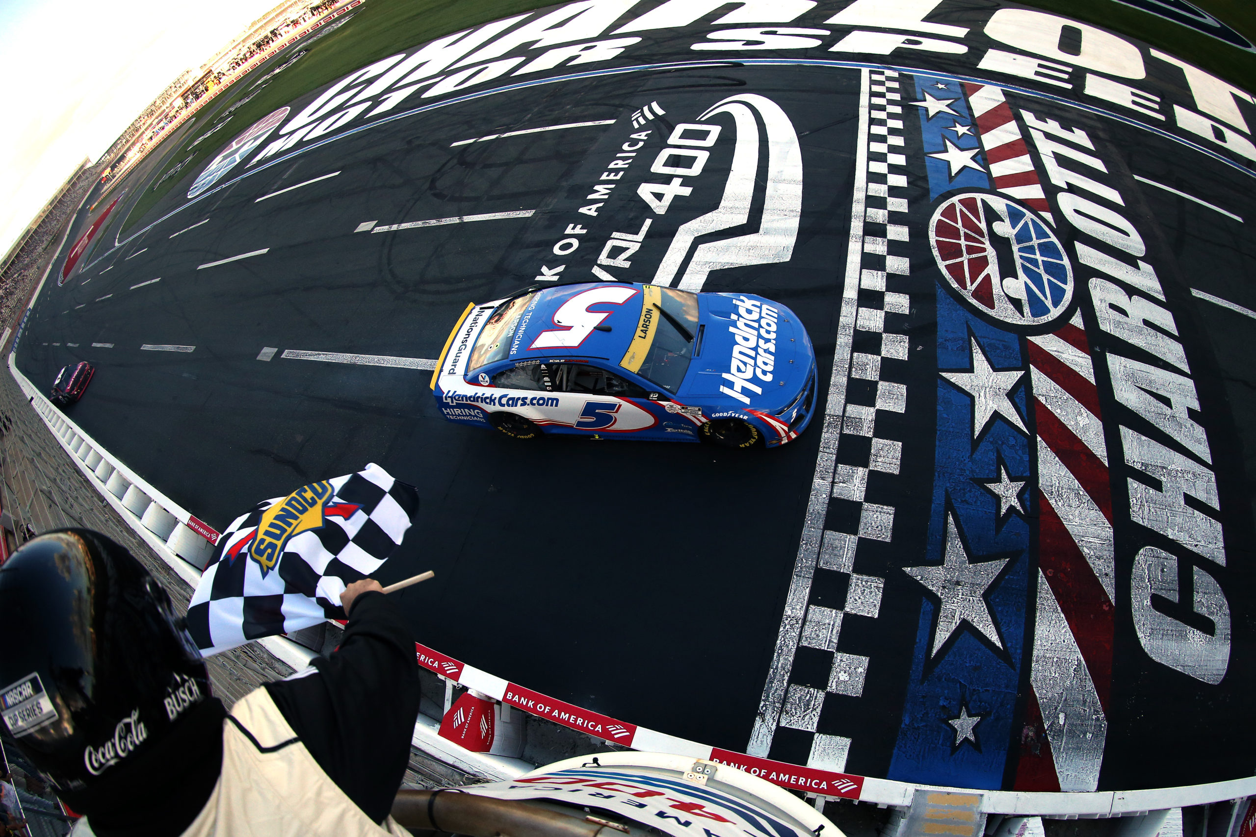 Larson Makes Late Pass to Win the Roval